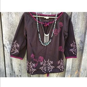 Anthropologie Odd Molly boho peasant top brown S